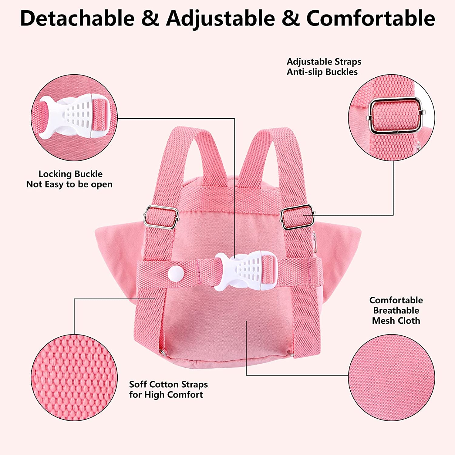 Toddler Backpack with Leash, Anti Lost Child Backpack with Safety Leash, Cute Child Mini Bag Walking Safety Harness for Airport Travel Kids Baby Children Infant Girls(Pink)