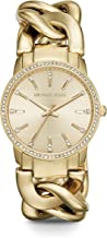 Michael Kors Women's Lady Nini Chain Watch, 3 Hand Quartz Movement with Crystal Bezel