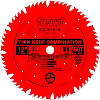 Freud LU83R012 12-Inch 60 Tooth ATB Thin Kerf Combination Saw Blade with 1-Inch Arbor and PermaShield Coating