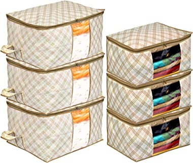 Kuber Industries Metalic Checkered Print 3 Piece Non Woven Saree Cover And 3 Pieces Underbed Storage Bag, Storage Organiser,