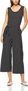 French Connection Women's Stripe Jersey Jumpsuit, Black/Summer White