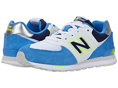 New Balance Kids 574 Varsity Sport (Little Kid) (Faded Cobalt/Hi-Lite) Boy