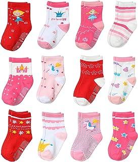 Yafane Calcetines para bebé, 12 pares, antideslizantes, para bebés de 0 a 7 años