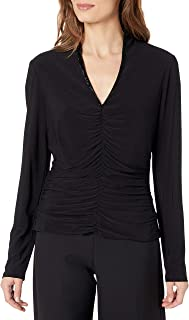 Jessica Howard Womens JH6M0693 Long Sleeve V-Neck Top with Front Shirring and Beaded Neckline Dress
