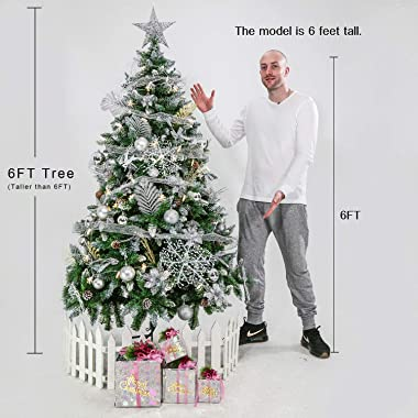 Senjie Artificial Christmas Tree 5/6/7/7.5/8/9 Foot Flocked Snow Trees Pine Cone Decoration Unlit(6 Foot Upgrade)