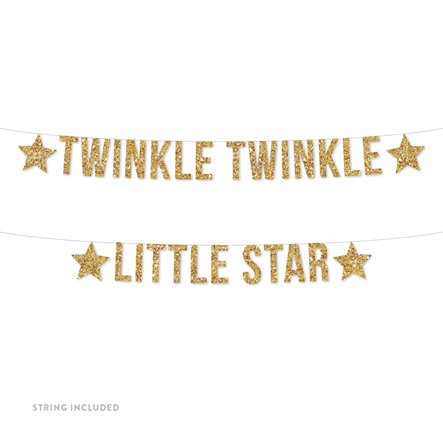 Andaz Press Real Glitter Paper Pennant Hanging Banner, Twinkle Twinkle Little Star, Gold Glitter, Includes String, Pre-Strung, No Assembly Required, 1-Set, Baby Shower Nursery Decor