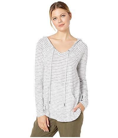 Mod-o-doc Slub Mini Double Stripe Hooded Raglan Sleeve Tunic (White) Women