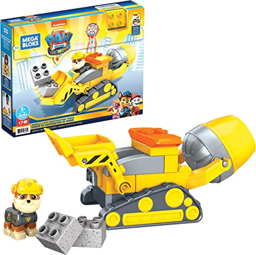 Mega Bloks PAW Patrol Rubble's City Construction Truck Building Toys for Toddlers (17 Pieces)