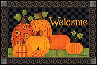 Studio M MatMates Patterned Pumpkins Fall Decorative Floor Mat Indoor or Outdoor Doormat with Eco-Friendly Recycled Rubber Backing, 18 x 30 Inches