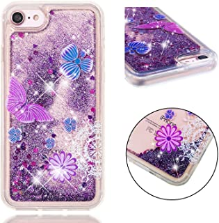 iPhone 8 Case, iPhone 7 Case, ZERMU Ultra Thin Fashion Bling Quicksand Flowing Floating Luxury Glitter Waterfall Fusion Moving Liquid Sparkling TPU Bumper Protection Cover for iPhone 8/7 4.7