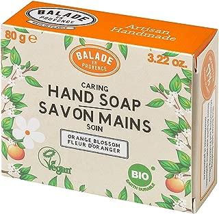 Balade En Provence Handmade Organic Hand Soap Bar, Orange Flower - Nourishing Shea Butter Formula for Soothing Skin Protection, Zero Waste, No Sulfates, Vegan Certified, 3.22 oz (3.22 Ounce)