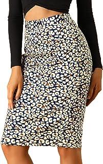 Allegra K Women's Knee Length Work High Waisted Leopard Pencil Skirt