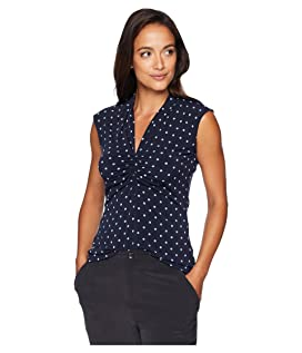 Petite Sleeveless Romantic Dots Cinched V-Neck Top