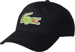 Lacoste Men's Big Croc Twill Adjustable Leather Strap Hat