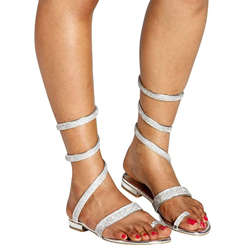 Italina - Women s Casual Open Toe Rhinestone Toe Ring Roman Gladiator  Sandals