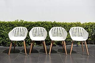 Brampton Chiavari Outdoor Chairs Set of 4   Eucalyptus Wood Legs   Perfect for Patio, White