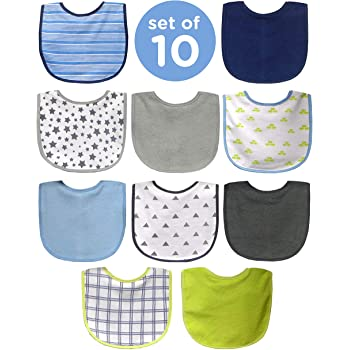 Neat Solutions 10 Pack Water Resistant Bib Set Blue/Grey Assorted