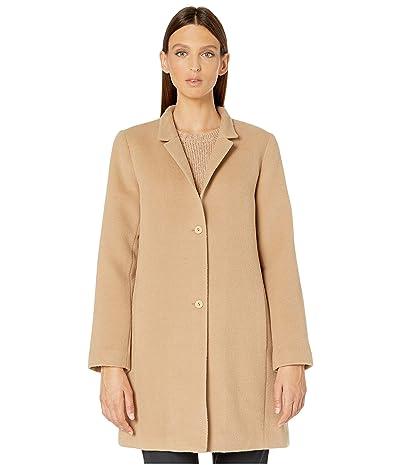 Eileen Fisher Baby Alpaca Wool Notch Collar Long Coat (Honey) Women