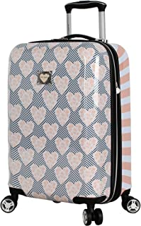 "Betsey Johnson Luggage Hardside Carry On 20"" Suitcase with Spinner Wheels (20in, Chevron Hearts)"