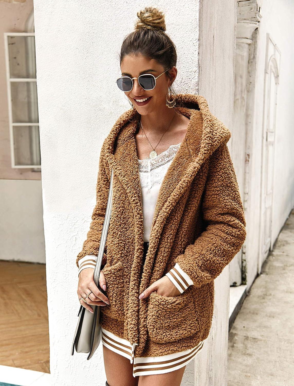 trudge Damen Pl/üschjacke Kapuzenjacke Teddy Fleece Cardigan Casual mit Taschen Wintermantel Outwear Steetwear Pl/üsch Mantel