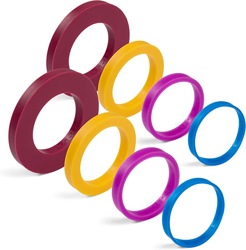 GreenOlive Rolling Pin Guide Ring Spacer Bands 8 Piece Set Multicolored Flexible Silicone Slip On Baking Accessories Fit 1 3 4 To 2 Wide Dough Rollers