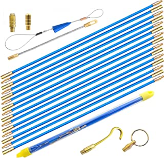 50' Wire Noodler Fiberglass Cable Wire Running Rod Coaxial Electrical Connectable Fish Tape Pull Kit With Hook And Hole Kit In Transparent Tube, Blue