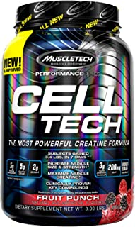 Creatine Monohydrate Powder + Carb Mass Gainer | MuscleTech Cell-Tech | Post Workout Recovery Drink | Muscle Recovery + Mu...