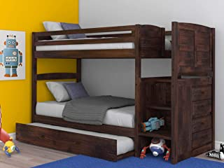 Discovery World Furniture Chestnut Twin Over Twin Staircase Bunkbed with Trundle