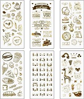 Matogle 6 Sheets Autocollant Doré à Bullet Journal Gommettes de Scrapbooking Vintage Or Autocollants de Papeterie Auto-adh...