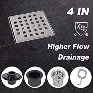 Modbath 4 Inch Square Shower Drain with PVC Base Flange, Floor Drain with Removable Quadrate Pattern Cover for Bathroom, Brushed 304 Stainless Steel, Includes Hair Strainer, Threaded Adapter