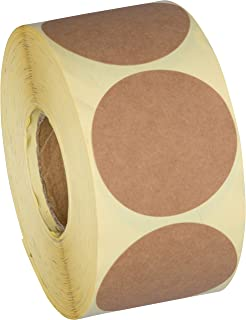 Camp Galaxy 2 Inch Natural Brown Kraft Stickers (600 Per Roll) - Round Blank Stickers For Store Owners, Crafts, Organizing, Jar and Canning Labels, Price Tags, Clearance Sales