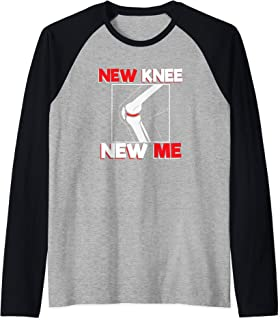Knee Surgery Recover Quote Gift - New Me Raglan Baseball Tee