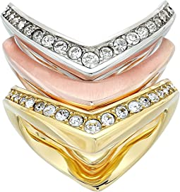 Michael Kors - Tone and Crystal Stacked Ring Set