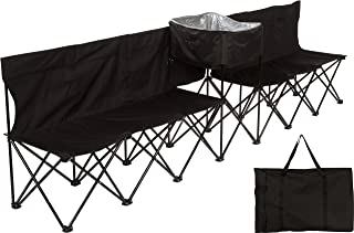 10' Portable Folding Team Sports Sideline Bench with Attached Cooler & Full Back by Trademark Innovations
