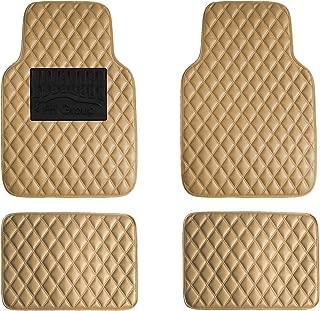 FH Group F12002BEIGE Luxury Universal All-Season Heavy-Duty Faux Leather Car Floor Mats Diamond Design w. High Tech 3-D Anti-Skid/Slip Backing