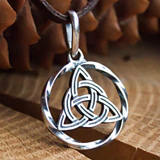 Celtic Triquetra Trinity Knot Pendant Necklace 925 Sterling Silver Infinity Circle Symbol Charm Good Luck Endless Love Amulet Irish Witchcraft Jewelry for Women Handmade