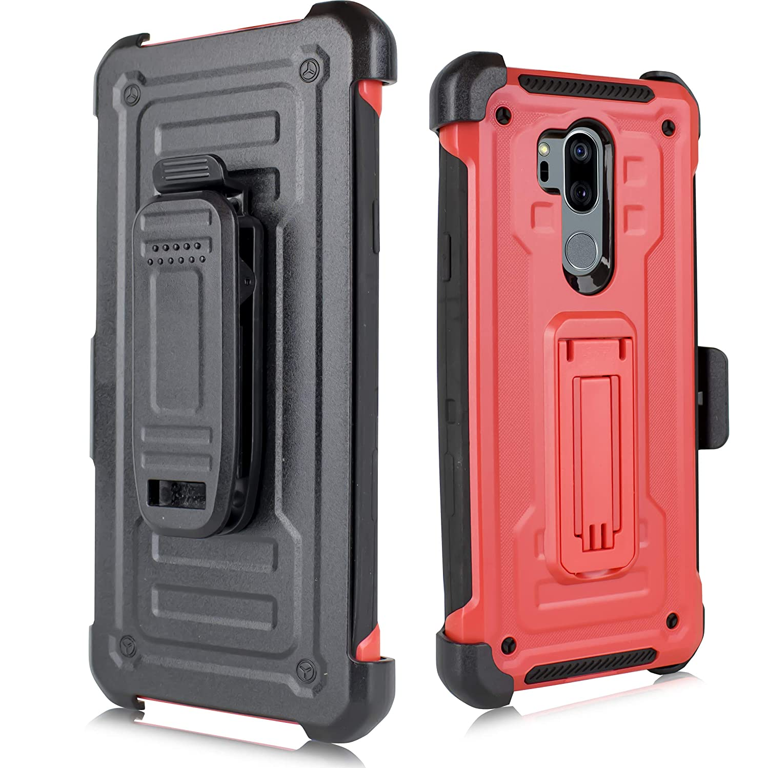 LG G7 ThinQ Case, LG G7 Phone Case, Heavy Duty Shockproof Hybrid Full-Body Protection Case Cover Swivel Belt Clip Kickstand LG G7+ ThinQ/LG LM-G710 (Red)