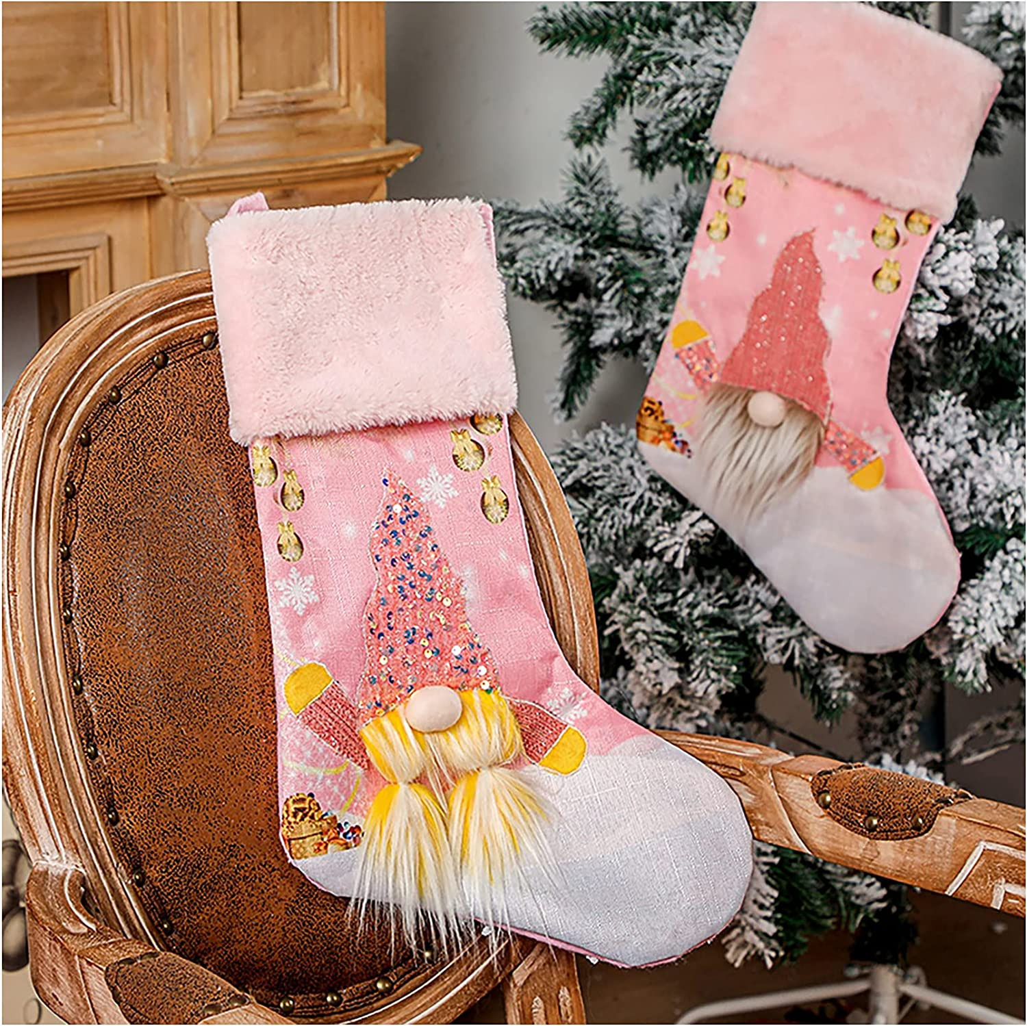 Lovely Pink Xmas Stocking with Nippon regular agency Lights Max 46% OFF Glowing Gnome Elf Rud Doll