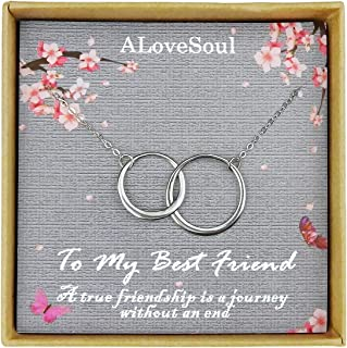 ALoveSoul Best Friend Necklaces - Sterling Silver Two Interlocking Infinity Eternity Double Circles Friendship Necklace, Birthday Gifts for Women, Friendship Gifts for Women Girls