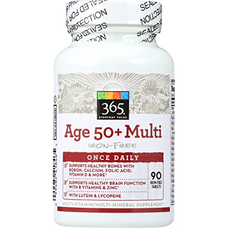 365 by Whole Foods Market, Supplements - Multivitamins, Age 50+ Iron-Free (Tablets), 90 Count