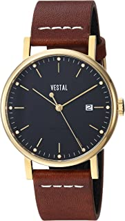 Vestal 'Sophisticate 36' Swiss Quartz Stainless Steel and Leather Dress Watch, Color:Brown (Model: SP36L02.LBWH)