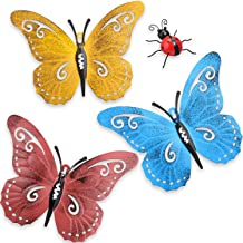 4 Pieces Metal Butterfly Wall Art Metal Garden Ladybugs Decor for Indoor Outdoor Yard Wall Hanging Sculptures Decoration 3 Colors