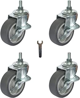 Mysit Caster Wheels, 4 Pack M8x25mm Metric Threaded Stem Casters, 3 Inch Heavy Duty Rubber Wheels Industrial Castors with Lock, Replacement for Carts Furniture Dolly Workbench Trolley(BS75TPR_8x25)