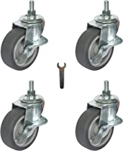 Mysit 3 Inch Caster Wheels Heavy Duty Threaded Stem Casters Set of 4, Swivel Rubber Casters Replacement with brake, Grill Cart Wheels for Furniture Trolley Dolly Workbench, M10mm x 1