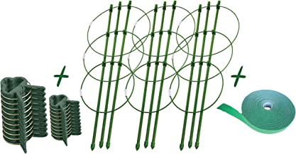 """Jlan Plant Support Cages with 3 Adjustable Rings Plant Cages 3 Pcs Plant Stakes 18"""" Tomato Cage and 20 Plant Support Clips and Plant Support Tie 14 m Green"""