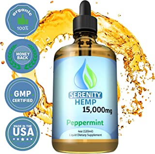 Serenity Hemp Oil - 4 fl oz 15000 mg (Peppermint) - Relief for Stress, Inflammation, Pain, Sleep, Anxiety, Depression, Nausea - Rich in Vitamin E, Vitamin B, Omega 3,6,9 and More!