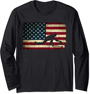 USA American Flag Red White Blue Curling Stone Winter Sport Long Sleeve T-Shirt