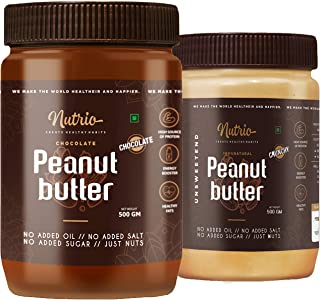 Nutrio Natural Peanut Butter (Crunchy + Chocolate Flavour | 500g + 500g)(Unsweetened)(Pack of 2)