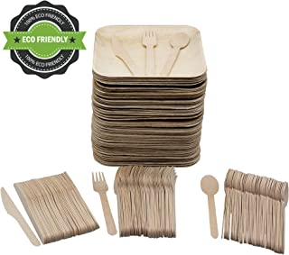 Party Pack of 200 Eco Friendly Dinnerware Set: 50 8