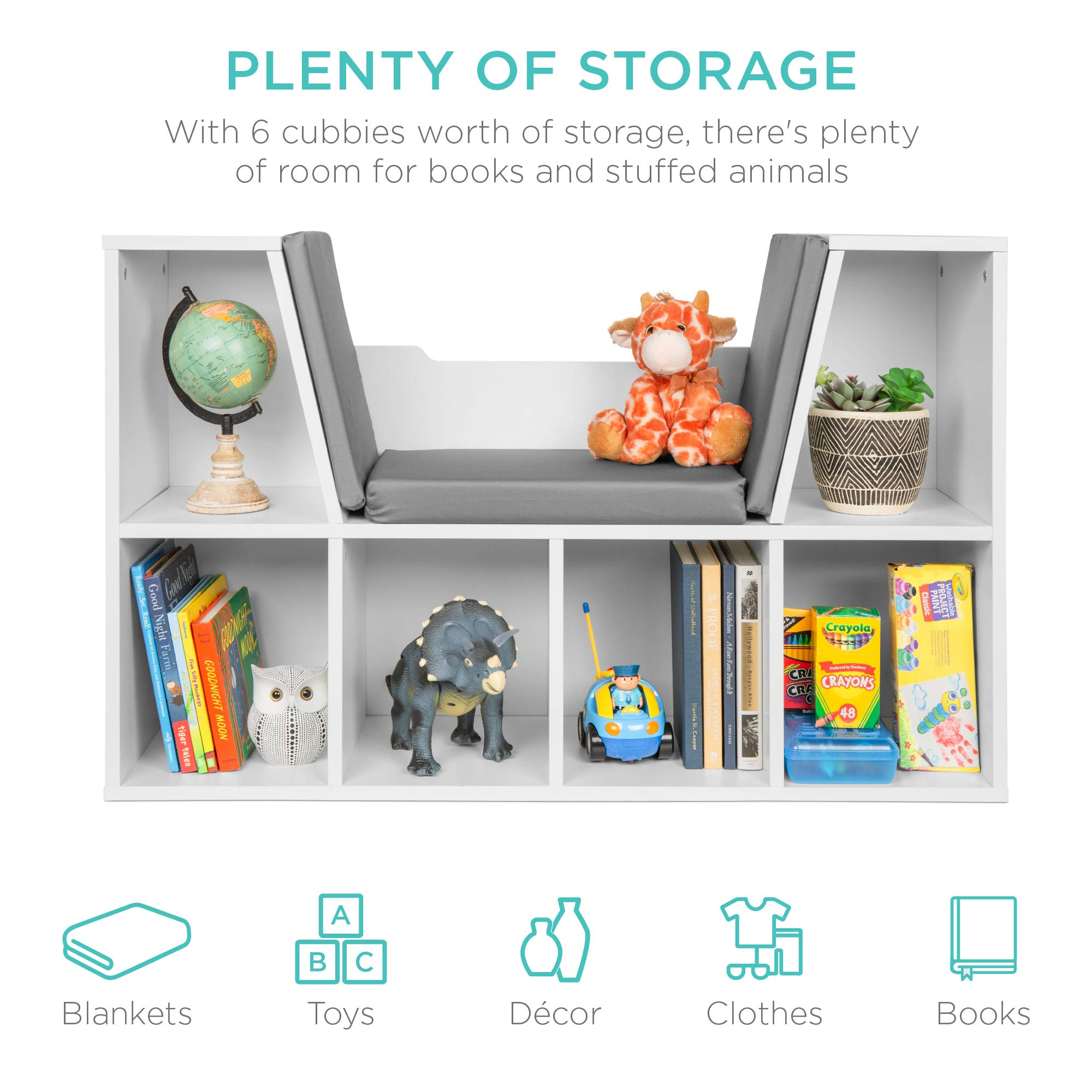Best Choice Products 6-Cubby Kids Bedroom Storage Organizer, Multi-Purpose Bookcases, Shelf Furniture Decoration w/Cushioned Reading Nook - White